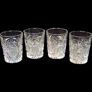 Clear Cut Glass Tumblers, Set of Four