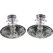 Fostoria Romance Etched Pair of Single Candlesticks