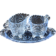 Cambridge Caprice Individual Sugar and Creamer with Tray in Moonlight