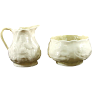 Belleek Lotus Open Sugar and Creamer