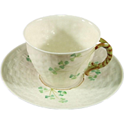 Belleek Basketweave Shamrock Flat Cup and Saucer