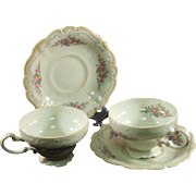 Rosenthal-Continental Pompadour Style Demitasse Cup and Saucer Pair Pattern 3418