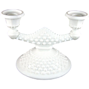 Fenton Hobnail Milk Glass Double Candlestick