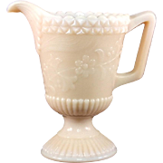 Pink Milk Glass Footed Creamer