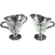 Heisey Etched Orchid Footed Open Sugar and Creamer