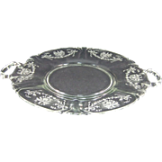 Heisey Etched Orchid Handled Round Sandwich Tray
