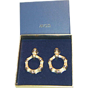 Avon Goldentone Bamboo Circle Earrings in Original Box