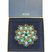 Avon Turquoise Colored Cabochon Starburst Brooch in Original Box
