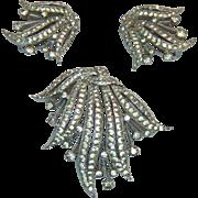 Panetta Crystal Rhinestone Brooch and Earring Set