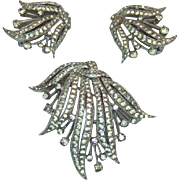 Panetta Crystal Rhinestone Brooch and Earring Set