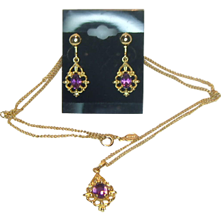 Avon Pendant and Earring Set with Amethyst-Colored Rhinestones