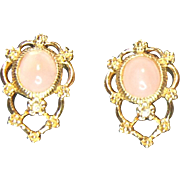 Avon Genuine Rose Quartz Pierced Earrings in Original Box
