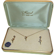 Marvel 12 K Gold Filled Cross Pendant and Earrings Set in Original Box
