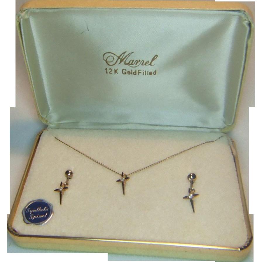 Marvel 12 K Gold Filled Cross Pendant and Earrings Set in Original Box