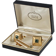 Swank Genuine Jade Cufflinks and Tie Clasp in Original Box