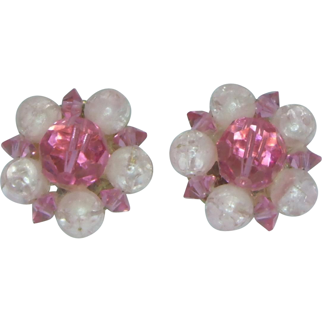 Lisner Pink Bead Clip Earrings