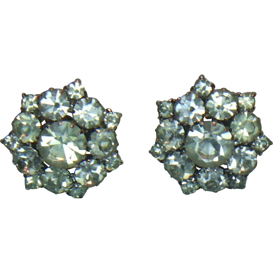 Unsigned Clear Rhinestone Clip Earrings
