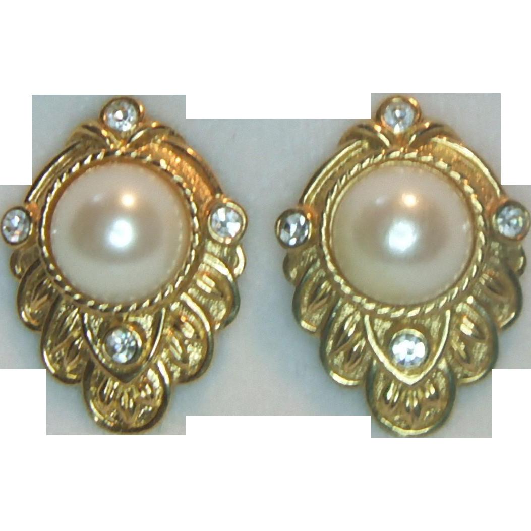 Kenneth J. Lane for Avon Faux Pearl Pierced Earrings