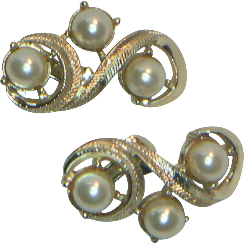 Coro Faux Pearl Clip Earrings