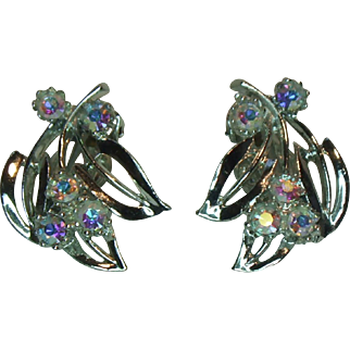Unsigned Silver-tone and Clear AB Rhinestone Clip Earrings