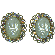 Unsigned Oval Filigree Clip Earrings
