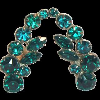 Unsigned Green Rhinestone Clip Earrings