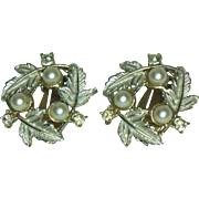 Judy Lee Leaf and Faux Pearl Clip Earrings