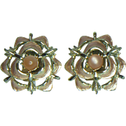 Judy Lee Rose Enamel Clip Earrings