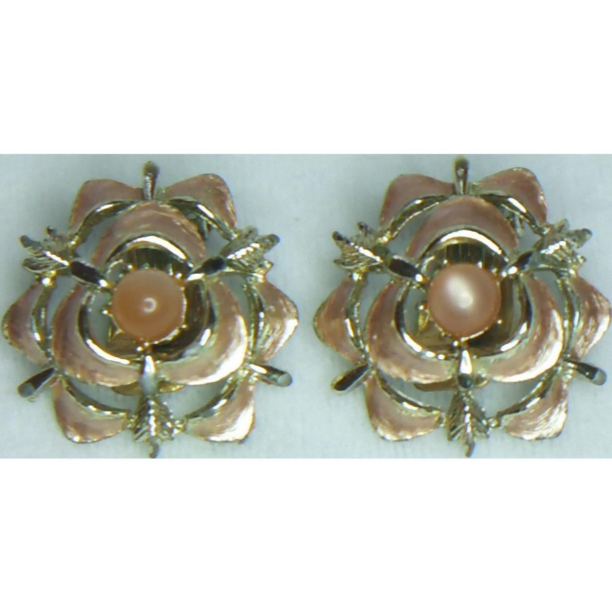 Judy Lee Rose Enamel Clip Earrings