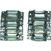 Unsigned Ice Blue Rhinestone Clip Earrings