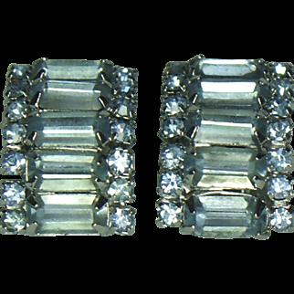 Unsigned Ice Blue Rhinestone Clip Earrings