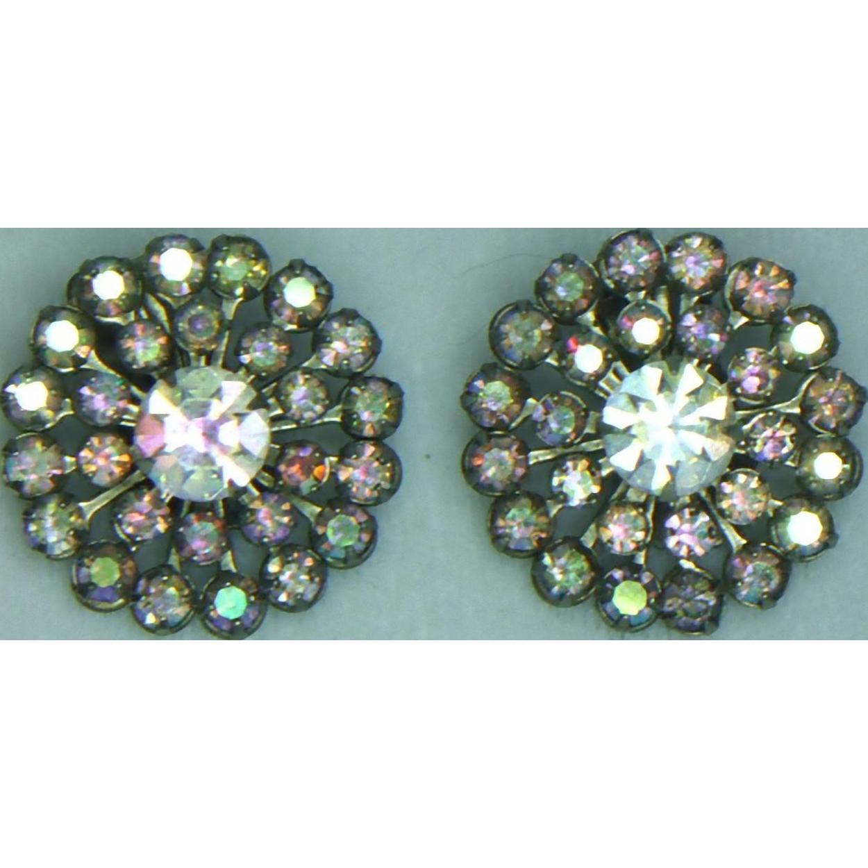 Weiss Aurora Borealis Clip Earrings