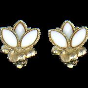Weiss White Milk Glass Clip Earrings