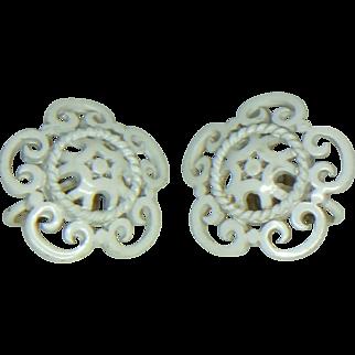 Crown Trifari White Enamel Clip Earrings