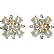 Trifari Faux Pearl and Rhinestone Pierced Earrings