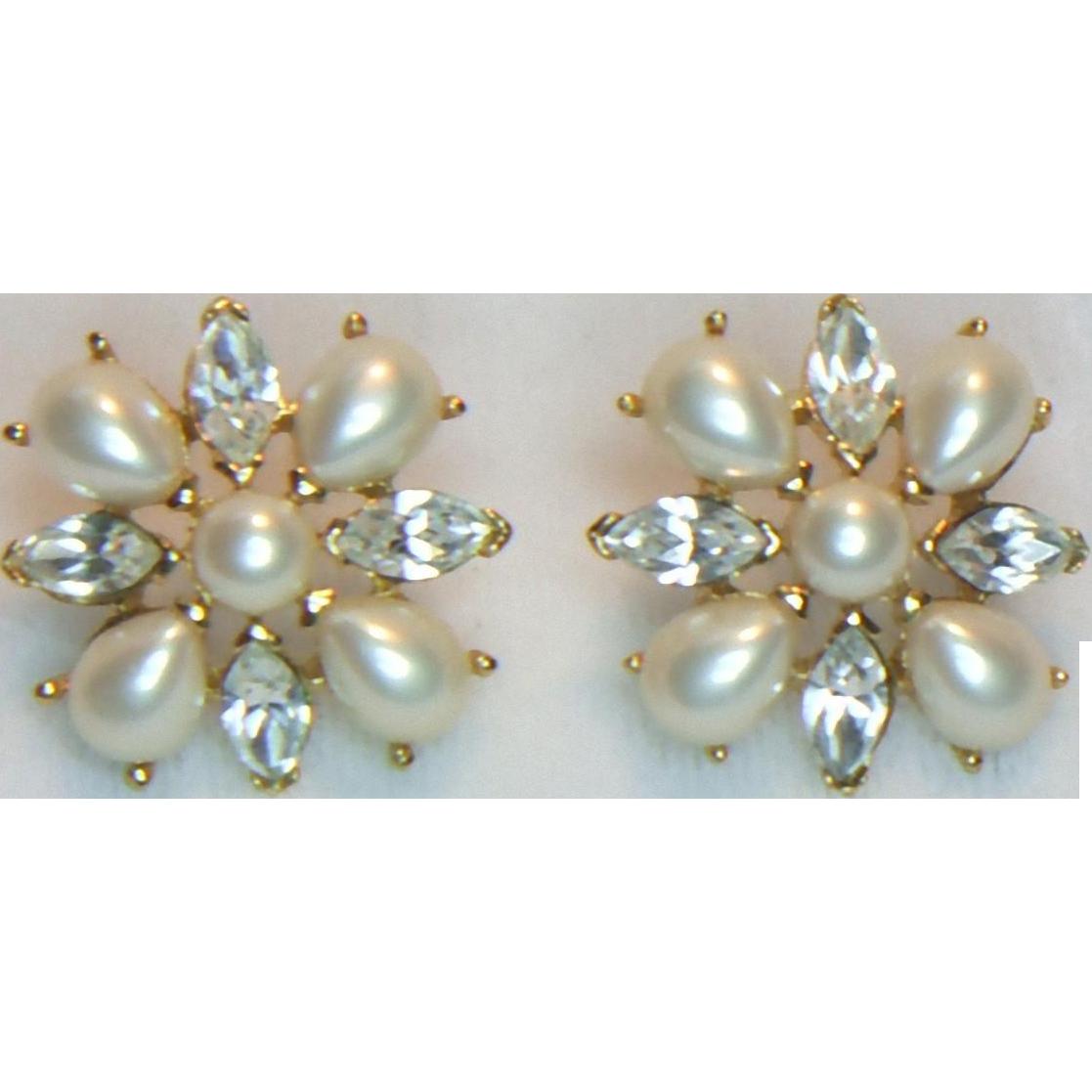 Trifari Faux Pearl and Rhinestone Pierced Earrings