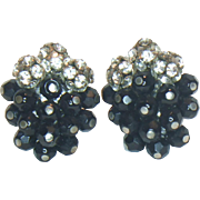 Unsigned Clear Rhinestone and Black Bead Clip Earrings