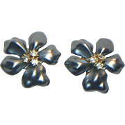 Kenneth J. Lane Blue-Gray Flower Clip Earrings