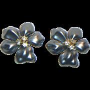 Kenneth J. Lane Blue-Gray Flower Clip Earrings