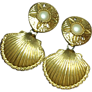 KJL for Avon 1991 Royal Sea Collection Clip Earrings