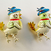 Tiny Plastic Scatter Pins of Fashionable Easter Chicks, Made in Korea c.1950