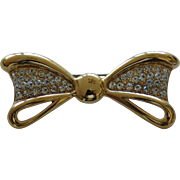 Gold Tone and Paved Clear Rhinestone Bow Brooch