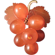 Butterscotch Amber Grape Brooch - Red Tag Sale Item