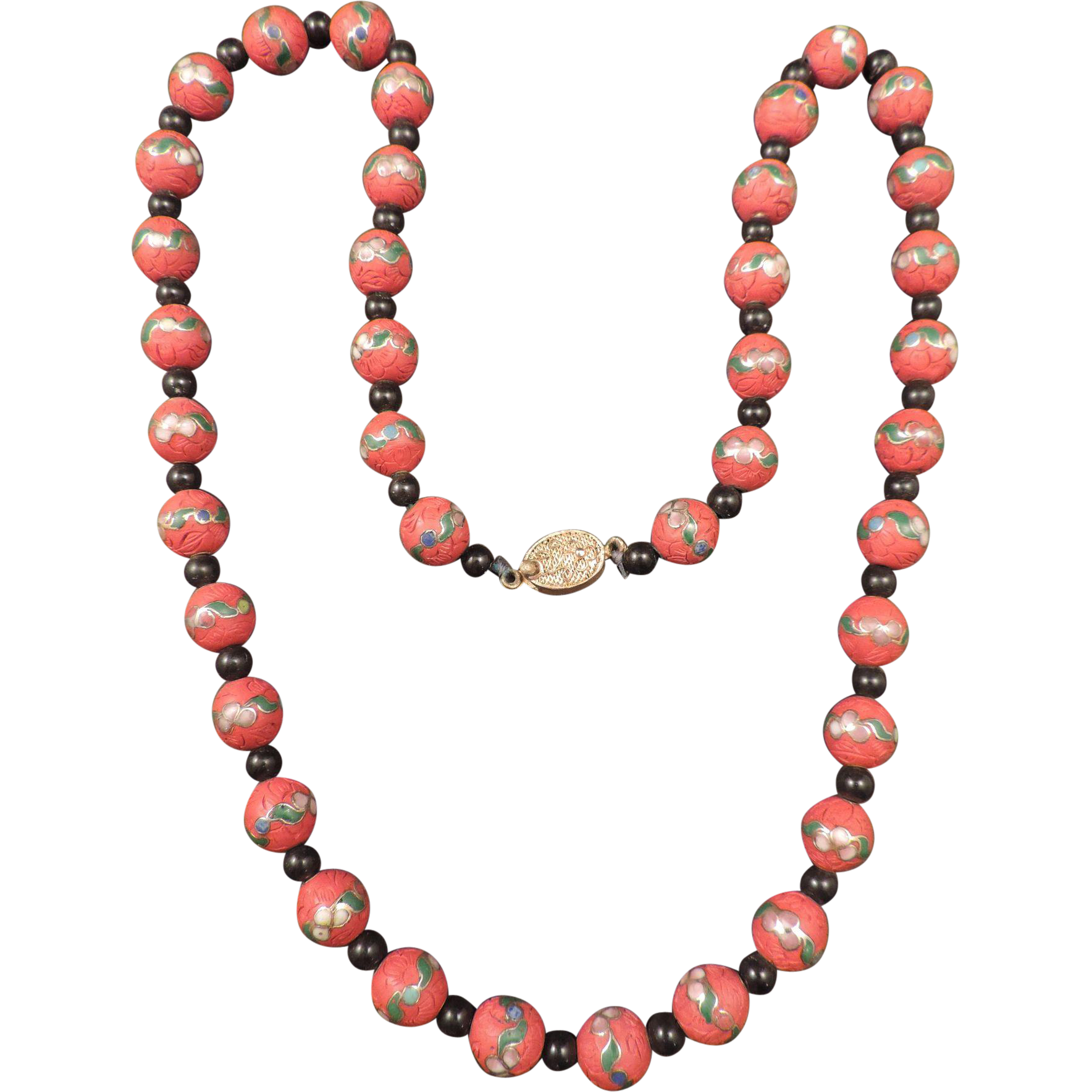 chines carved cinnabar cloisonn 233 necklace from
