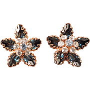 Rhinestone Flower Earrings Made in Austria