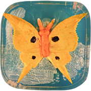 Inlaid Lucite Butterfly Button