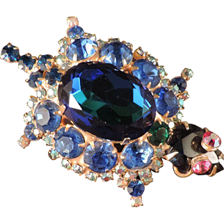 D&E Juliana Aqua & Blue Rhinestone Turtle Brooch