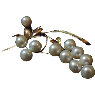 14k Yellow Gold & Pearl Flower Brooch