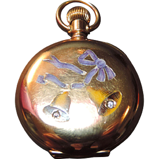 Gold & Diamond Enameled Bells Pocket Watch