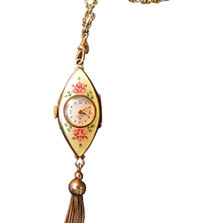 Vintage Bucherer 17 Jewels Swiss Made Floral Enamel Ladies Necklace Watch